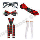 NERD GEEK CHIC SCHOOL GIRL RED TARTAN TIE BRACES GLASSES FANCY DRESS COSTUME