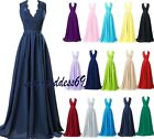 Long V-neck Chiffon Formal Wedding Evening Party Ball Gown Bridesmaid Dress 6-22