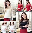 Sweet Women Slim Lace Floral Tops Turtleneck Hollow Long Sleeve Blouses Shirts