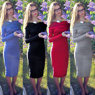Hot Women's Long Sleeve Cotton Slim Bodycon Evening Party Cocktail Long Dress