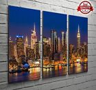 New York City Lights Brooklyn 3 Panel Canvas Print Large Picture Wall Art no.46