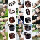Unisex Men's Braided Genuine Leather Cuff Bangle Bracelet Wristband Jewelry Gift