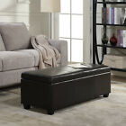 Contemporary Modern Faux Leather bedroom rectangular Storage Ottoman Bench, 48""