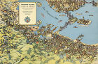 1938 Pictorial Map Treasure Island Vintage History Wall Art Poster Print Decor