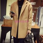 Mens Loose Wool Blend Single Breasted Long Trench Coat Long Jacket Overcoat Size