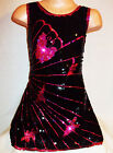 GIRLS 60s STYLE BLACK SEQUIN PINK BUTTERFLY EVENING DISCO DANCE PARTY DRESS