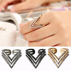 Fashion Women Lady's Alloy Rhinestone Simple Traingle Band Ring Jewelry Gift