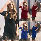 New women Vestidos long Sleeve Lace splicing sweet Dress autumn&winter Ladies