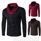 Stylish Mens Casual Long Sleeve Shirts Slim Fit T-Shirt Tops Tee Blouse Black