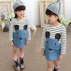 Cute Kids Girl Cotton Soft Long Sleeve Dress Casual Party Tutu Stripe Skirt 2-6Y