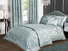 Deluxe Boston Jacquard Duvet Set with Pillowcase(s) Duck Egg Blue Damask Floral