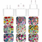 CARRIE SCHMITT FLORALS WHITE UK CHARGER & MICRO-USB CABLE FOR SAMSUNG PHONES 1