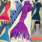 Cute Adult Kids Mermaid Tail Handmade Tassel Crocheted Cocoon Blankets Quilt Rug