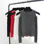 Fashion women knitted off shoulder tops tight slim T-shirt long sleeve Blouse JR