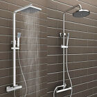 Bathroom Mixer Shower Set Twin Head Round Square Chrome Thermostatic Valve