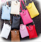 AT Womens Small Mobile Phone Bags Coin Satchel Shoulder Messenger Bag Weave JR