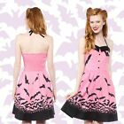 BAT PINK DRESS GOTH hot topic lip service modcloth metal CHRISTMAS bettie page