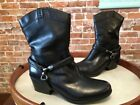 B Makowsky Hudson Black Leather Removable Harness Boots New