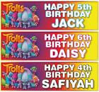 "2 PERSONALISED 36"" x 11"" TROLLS BIRTHDAY BANNERS"
