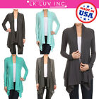 ReneeC. Women's Solid Open Front Draped Everyday Cardigan - Made in USA