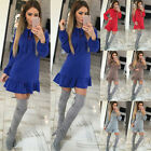 AUTUMN Womens Sexy Mini Dress Casual Ruffle Sleeve Tops Evening Party Cocktail