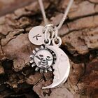 Sterling Silver Personalised Sun / Moon Charms Necklace & Initial Tag & Gift Box