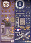 K & Co MILITARY Themed~embossed stickers~Air Force, Navy, Marines~Quick ship!