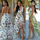 Women Fashion Summer Maxi Long Floral Backless Dress Evening Party Beach Dress