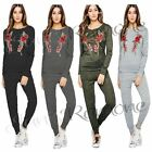 New Womens Applique Rose Fine Knit Marl Flower Embroidered Loungewear Tracksuit