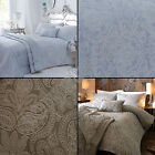 LUXURY WOVEN JACQUARD QUILTED BEDSPREAD BED THROW COVER STONE TAUPE BLUE NATURAL
