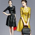 Womens Long Sleeve High End Belt Office Skirt Outwear Faux Leather Dress 2 Color