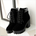 2018 Women Platform chunky heels Goth Lace up faux suede ankle boots shoe Size