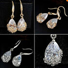 Women New Beautiful Alloy 24K Gold Plated Crystal Drop Hook Earrings