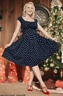 NavyBlue PolkaDot 50s Style Off t/Shoulder Kirstie Peasant Dress w/ POCKETS S-3X