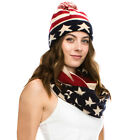USA American Flag Patterned Scarf and Beanie Winter Set