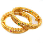 Indian Ethnic 2PC Gold Plated Kada Jewelry Ruby Green Pearl Bangles Bracelet Set
