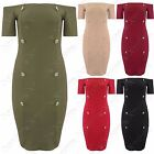 LADIES GOLD BUTTON FRONT DRESS BARDOT OFF SHOULDER WOMEN BODYCON DOUBLE BREASTED