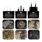 HBO GAME OF THRONES VARIOUS ART BLACK UK CHARGER & MICRO-USB CABLE FOR SAMSUNG 2