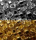 100 Metallic Silver or Gold Chrome Pony Beads 9x6mm Barrel Shape - BUY 3 FOR 2