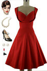 Dashing Vintage Inspired Holiday Party Dress w/Detailed Shelf Bust in RED