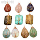 Rose Gold Wire Wrap Natural Gemstones Tree Of Life Chakra Pendant Jewelry