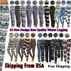 Women's Print New Winter Thick Warm Fleece Lined  Stretchy Leggings Pants Warm