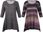 Womens Plus Size Print Ladies Half Sleeve Uneven Hem Flared Swing Dress Long Top
