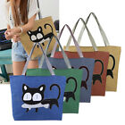Casual Women Handbag Ladies Canvas Shopping Tote Bag Cat Pattern Shoulder Bag