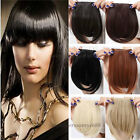 Real Thick Clip In on Bangs Fringe Fake Hair Extension Brown Black Straight Bang