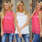 New Women Casual Summer Lace Chiffon Blouse Top Sleeveless Hollow out Plus Size