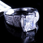 Ladies 14K White Gold Fn Lab Diamond Princess Cut Solitaire Engagement Ring Band