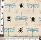PATCHWORK/ CRAFT FABRIC FAT QTR LEWIS AND IRENE - THE BOTANIST - DRAGONFLY & BEE