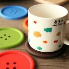 5Pcs Cute Round Button Silicone Coaster Drink Cup Mat Holder Placemat