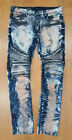 Mens Balmain Styled Biker Zipper Jeans By KROME Slim Fit